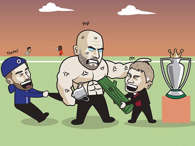 Ảnh chế: MU hợp sức cùng Chelsea ngăn cản Man City nâng cúp vô địch sớm