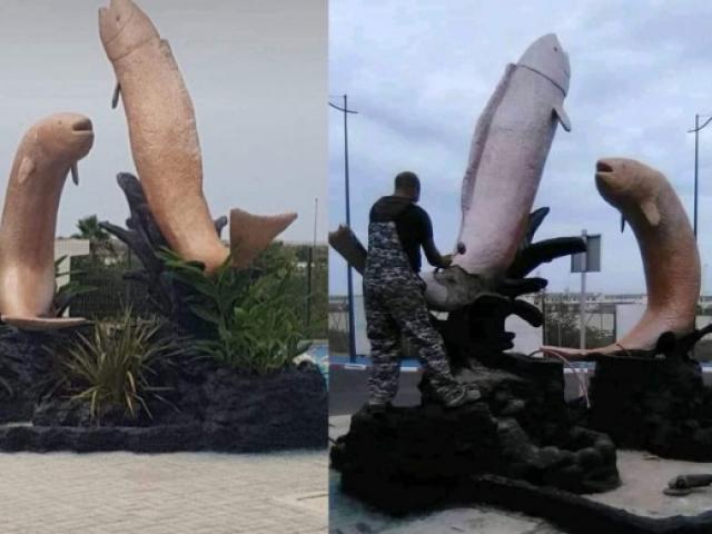 """Morocco phá hủy bức tượng cá giống """"của quý"""" gây tranh cãi"""