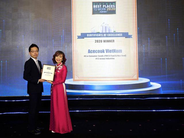 Acecook Việt Nam được vinh danh Top 10 Doanh nghiệp tiêu biểu có nguồn nhân lực hạnh phúc 2020 và Top 15 nơi làm việc tốt nhất Việt Nam