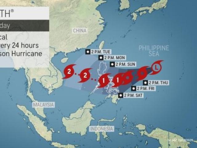 Áp thấp nhiệt đới gần Philippines đã mạnh thành bão, hướng di chuyển giống bão số 9