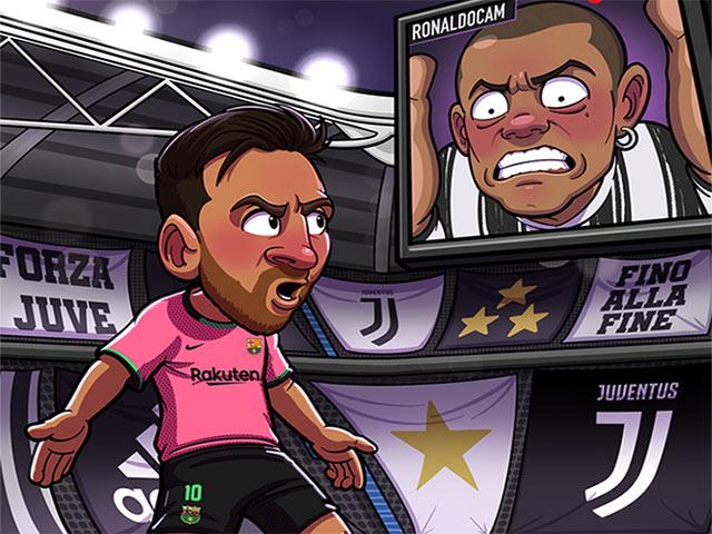 """Ảnh chế: Ronaldo """"cay đắng"""" khi phải ngồi ngoài chứng kiến Messi hạ Juventus"""