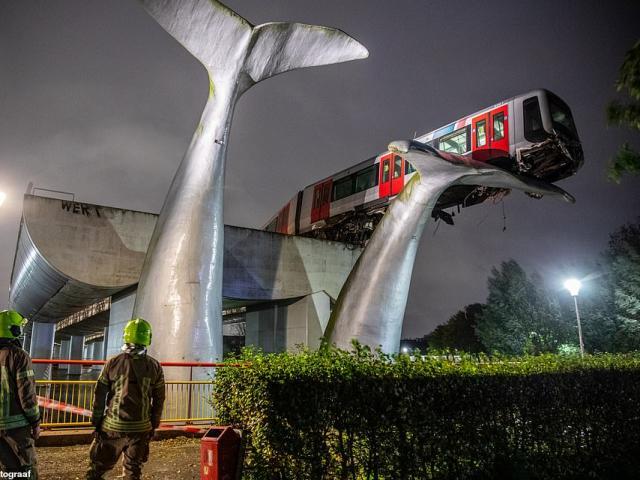 """Tàu điện trên cao lao đầu xuống đất, tượng đuôi cá voi """"thần kỳ"""" ngăn tai nạn thảm khốc"""